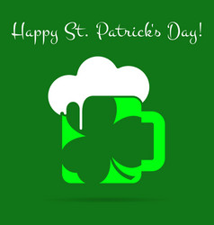 St patricks day card green beer with clover text vector