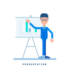 Businessman giving a presentation business vector