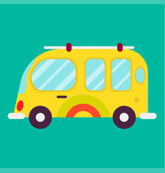 hippie bus isolated on green background graphic vector image