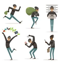 Different actions scenes with cartoon bandit vector