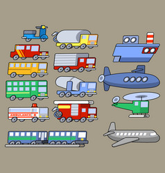 flat simple transport mode collection vector image