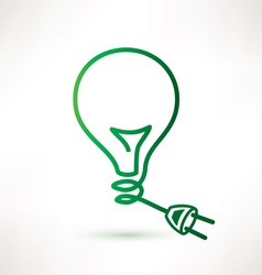 Green bulb with plug abstract icon vector