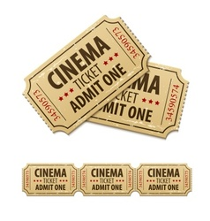 Old cinema tickets for cinema vector