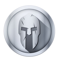 Round icon of spartan helmet with scratches from vector