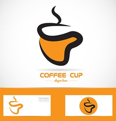Orange coffee cup logo vector