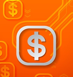 Dollar signs on orange technology background vector