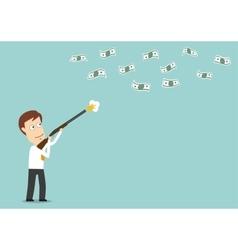 Businessman hunts for dollar bills with gun vector image
