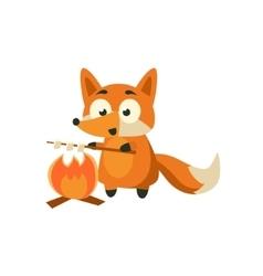 Fox Cooking Marshmellows vector image