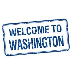 Welcome to washington blue grunge square stamp vector