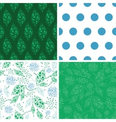 abstract blue and green leaves set of four vector image vector image