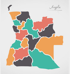 Angola map with states and modern round shapes vector