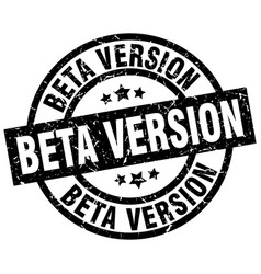 Beta version round grunge black stamp vector