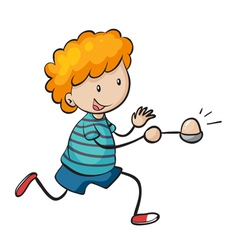 boy running in egg and spoon race vector image vector image
