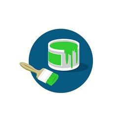 Brush paint bucket logo vector