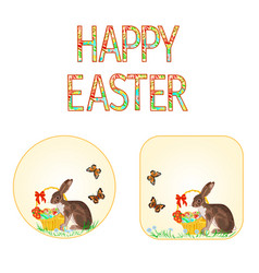 Buttons happy easter bunny and basket vector