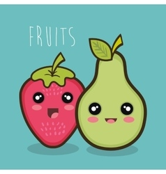 Cartoon strawberry pear emotions design vector