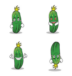 Collection set of cucumber character cartoon vector
