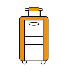 Color silhouette image travel suitcase with handle vector