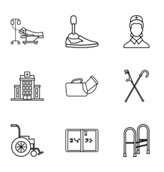 Disability icons set outline style vector