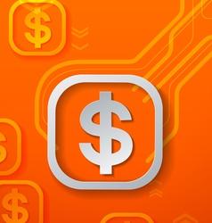 Dollar signs on orange technology background vector
