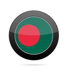 flag of bangladesh shiny black round button vector image