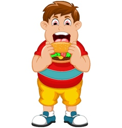 Funny fat man cartoon eating burger vector