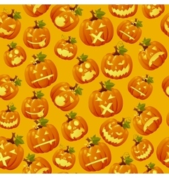 Haloween background carved pumpkin faces vector