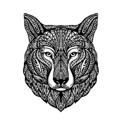 Hand drawn head wolf Ethnic patterns Dog husky vector image vector image