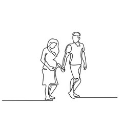 Happy pregnant woman walking with her husband vector
