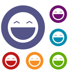 laughing emoticons set vector image