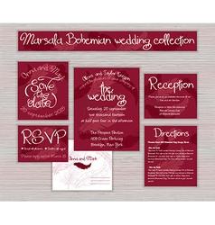 Marsala printable wedding typography set of cards vector