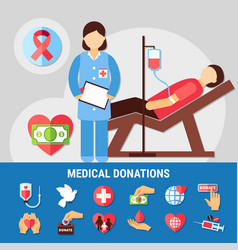 Medical donations icon set vector