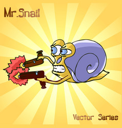 Mr snail with gun vector