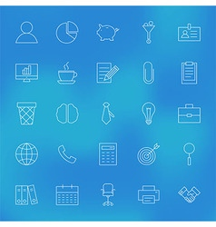 Office Business Line Icons Set over Blurred vector image vector image