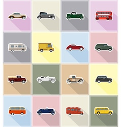 Old retro transport flat icons 18 vector