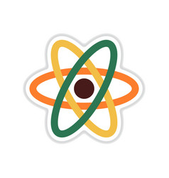 Paper sticker on white background atom vector