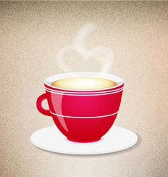 Red coffee cup on a jeans background vector