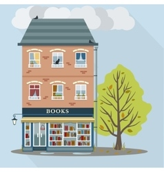 Retro house with books shop vector