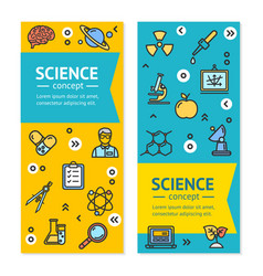 Science research vertical banners posters vector