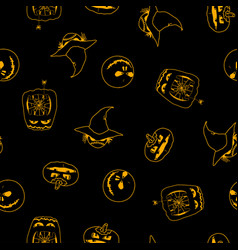 seamless pattern of halloween pumpkins ghost vector image