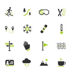 Skiing icon set vector