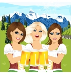 Three oktoberfest girls holding beer tankards vector