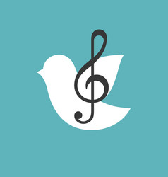 Treble clef with bird vector
