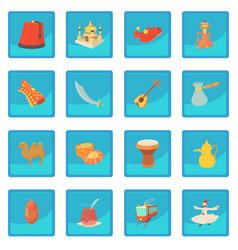 Turkey travel symbols icon blue app vector