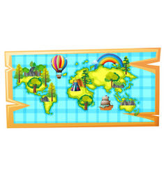 worldmap with ship and balloon vector image vector image
