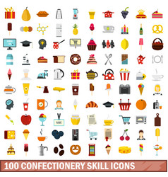 100 confectionery skill icons set flat style vector image