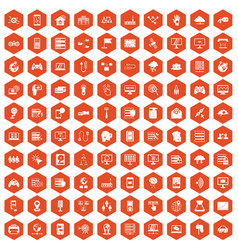 100 network icons hexagon orange vector image