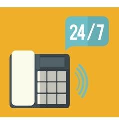 Phone bubble time call center service icon vector