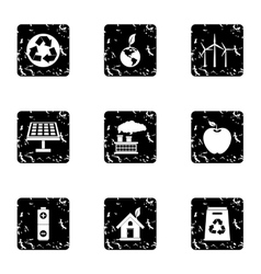Natural environment icons set grunge style vector