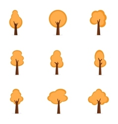Collection of orange trees set vector